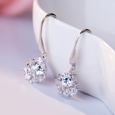 Ladies' Exquisite 925 Sterling Silver Cubic Zirconia Earrings For Bridesmaid/For Friends (011230426)