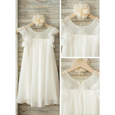 Knee-length Flower Girl Dress - Chiffon Short Sleeves Scoop Neck (269213897)