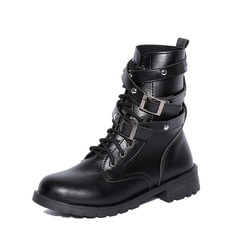 Women's PU Low Heel Closed Toe Boots Mid-Calf Boots With Rivet Lace-up shoes