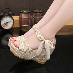 Women's Wedge Heel Sandals Wedges Peep Toe Slingbacks With Bowknot Jewelry Heel shoes