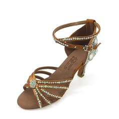 Women's Satin Sandals Latin With Rhinestone Dance Shoes