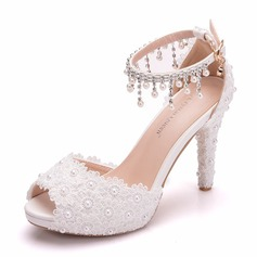 Women's Leatherette Spool Heel Peep Toe Platform With Tassel Applique