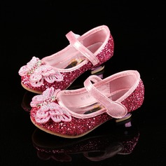 Girl's Closed Toe Sparkling Glitter Flat Heel Flower Girl Shoes With Bowknot Rhinestone Velcro (207117276)