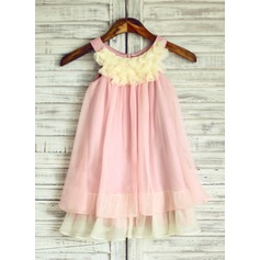 Empire Knee-length Flower Girl Dress - 30D Chiffon Sleeveless Scoop Neck With Ruffles