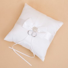 Simple Ring Pillow in Satin With Bow/Rhinestones