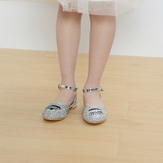 Girl's Closed Toe Sparkling Glitter Low Heel Flats Flower Girl Shoes With Buckle Sparkling Glitter