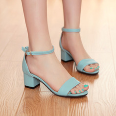 Women's Leatherette Chunky Heel Sandals Pumps Peep Toe shoes (087117157)