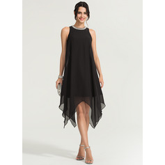 A-Line/Princess Scoop Neck Asymmetrical Chiffon Cocktail Dress With Beading (016170863)