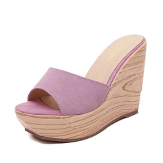 Women's Suede Wedge Heel Sandals Slippers shoes