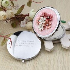Personalized Flower Design Chrome Compact Mirror With Diamond Rhinestone (118031891)