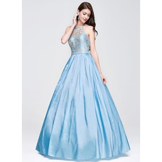 Ball-Gown Halter Floor-Length Taffeta Prom Dresses With Lace Beading Sequins