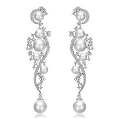 Ladies' Elegant Copper/Zircon/Imitation Pearls Imitation Pearls Earrings For Bride/For Bridesmaid (011216662)