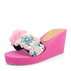 Women's Corn Bran Wedge Heel Wedges Slippers With Imitation Pearl Flower shoes