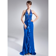 Sheath/Column Halter Asymmetrical Charmeuse Prom Dress With Beading