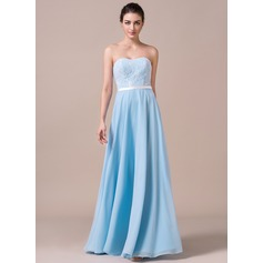 A-Line/Princess Sweetheart Floor-Length Chiffon Lace Bridesmaid Dress With Bow(s)