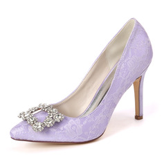 Women's Lace Satin Stiletto Heel Pumps With Rhinestone