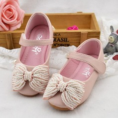 Girl's Round Toe Mary Jane Microfiber Leather Flat Heel Flats Flower Girl Shoes With Bowknot Imitation Pearl Velcro
