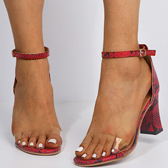 Women's Leatherette PVC Chunky Heel Sandals With Buckle shoes