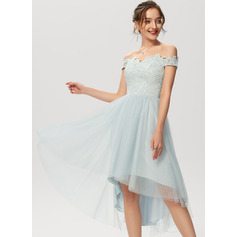 A-Line Off-the-Shoulder Asymmetrical Tulle Lace Cocktail Dress