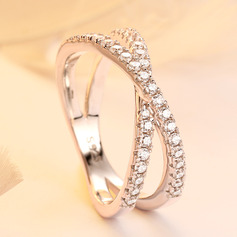 Sterling Silver Cubic Zirconia Vintage Round Stackable Rings (289224774)