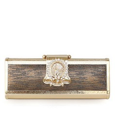 Elegant Metal/PU With Floral Print Clutches