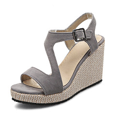 Women's Suede Wedge Heel Pumps Platform Wedges Peep Toe Slingbacks With Buckle shoes (116168543)