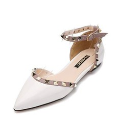 Women's PU Flat Heel Flats Closed Toe With Rivet shoes (086141367)
