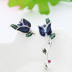 Attractive Alloy/Zircon Ladies' Earrings