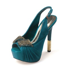 Vrouwen Suede Stiletto Heel Sandalen Pumps Plateau Peep Toe Slingbacks met Roes Juwelen Hak schoenen