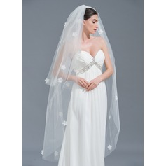 Two-tier Cut Edge Waltz Bridal Veils With Satin Flower