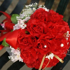 Bright/Red Round Satin Bridal Bouquets