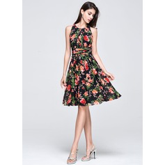 A-Line/Princess Scoop Neck Knee-Length Chiffon Holiday Dress With Ruffle (020072243)