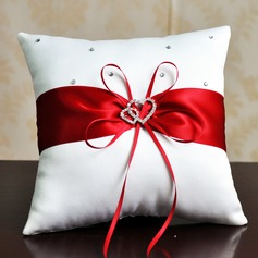 Elegant Ring Pillow in Satin With Ribbons/Rhinestones (103078706)