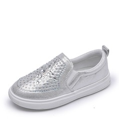 Jentas Lukket Tå Leather flat Heel Sandaler Flate sko Flower Girl Shoes med Rhinestone