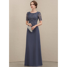 Scoop Neck Floor-Length Chiffon Lace Mother of the Bride Dress (267234588)