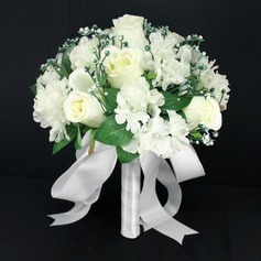 Charming Round Ribbon/Lace Bridal Bouquets - (123084631)