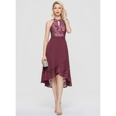 A-Line Scoop Neck Asymmetrical Chiffon Homecoming Dress With Cascading Ruffles