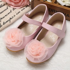 Girl's Closed Toe Leatherette Flat Heel Flats Flower Girl Shoes With Flower