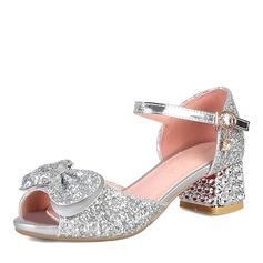 Women's Sparkling Glitter Chunky Heel Sandals Peep Toe With Bowknot Sparkling Glitter shoes