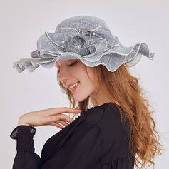 Ladies' Charming/Fancy Linen With Flower Beach/Sun Hats/Kentucky Derby Hats/Tea Party Hats