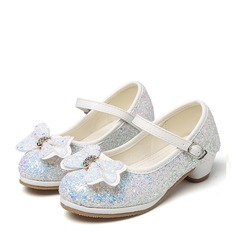 Flicka rund tå sparkling blänker låg klack Pumps Flower Girl Shoes med Bowknot Strass