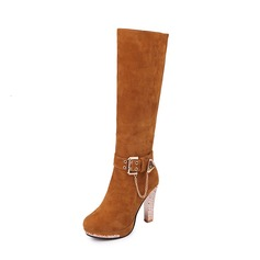 Women's Suede Stiletto Heel Pumps Boots Knee High Boots With Buckle Zipper Chain Jewelry Heel shoes