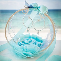 Elegant Ring Basket With Ribbons/Faux Pearl/Flowers