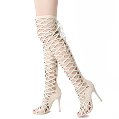 Women's Leatherette Stiletto Heel Boots With Zipper Lace-up Hollow-out shoes (087114519)