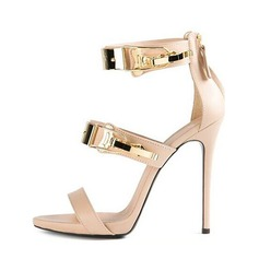 Women's PU Stiletto Heel Sandals Pumps Peep Toe With Buckle shoes