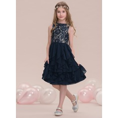 Scoop Neck Knee-Length Chiffon Junior Bridesmaid Dress With Cascading Ruffles (268193452)