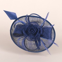 Elegant Cambric With Feather/Silk Flower Floppy Hat