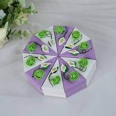 Forever Love Cubic Card Paper Favor Boxes With Flowers
