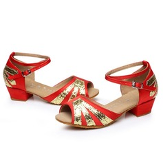 Kids' Satin Sandals Latin With Ankle Strap Dance Shoes