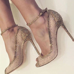 Women s Mesh Stiletto Heel Peep Toe Pumps With Rhinestone 49b0db1431